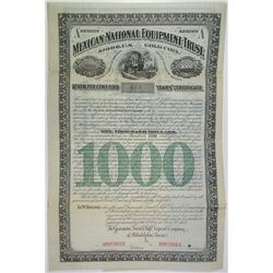 "Mexican National Equipment Trust 1883 ""Series A - Six Years' Certificate"" Specimen Bond"