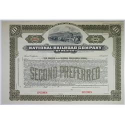 National Railroad Company of Mexico, 1902 Specimen Stock Certificate.