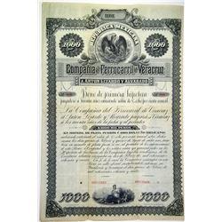 Republica Mexicana Compania del Ferrocarril de Veracruz 1884 Specimen Bond Rarity