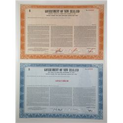 Government of New Zealand, 1966 Specimen Bond Pair.