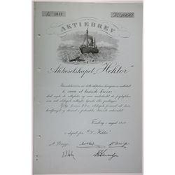 Aktiebrev Aktieselskapet Hektor 1912 Whaling Company Bond