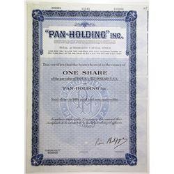 """Pan-Holding"" Inc. Specimen Stock Certificate"