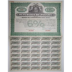 Republica De Panama, 1933 Issue Bonos de Conversion Specimen Bond.
