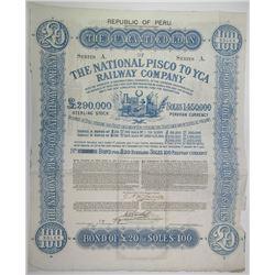 National Pisco to YCA Railway Co., 1869 I/U Bond