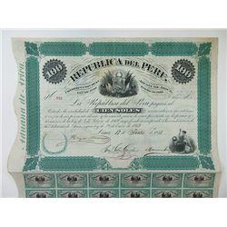 Republica Del Peru 1871 100 Soles I/U Bond.