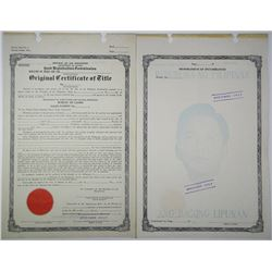Republic of the Philippines, Land Registration Commission 1954 Specimen Title Certificate
