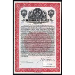 Republic of Poland - 1936 Dollar Funding Specimen Bond.