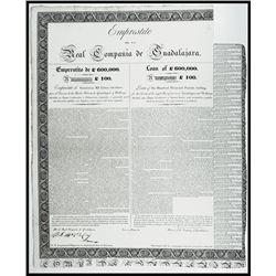 Real Compania de Guadalajara, Loan of £600,000. 1825, £100 Sterling I/U Bond.