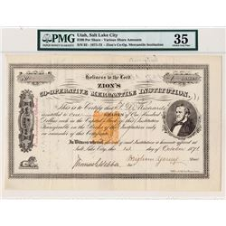 Zion's Co-operative Mercantile Institution 1871 Issued & Transferred Stock Certificate with Brigham