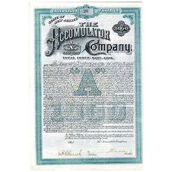 Accumulator Co., 1890 I/U Bond Signed by Theodore Vail as President, the first president of AT&T.