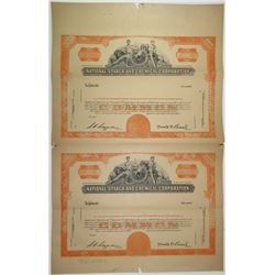 National Starch and Chemical Corp., 1930s Proof Stock Certificate Uncut Pair