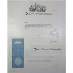 Quaker Chemical Corp., 1977 Progress Proof Stock Certificate & Annual Report Booklets