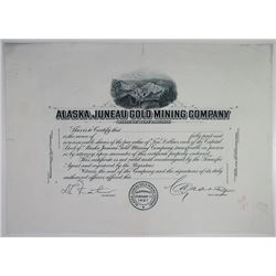 Alaska Juneau Gold Mining Co. 1900-1920's Progress Proof Stock Certificate