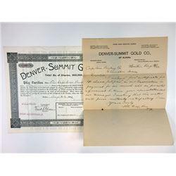 Denver-Summit Gold Co., 1893 I/U Stock Certificate