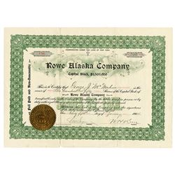 Rowe Alaska Co. 1904 I/U Stock Certificate.