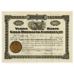 Yukon Basin Gold Dredging Co. Ltd. 1900 I/U Stock Certificate.