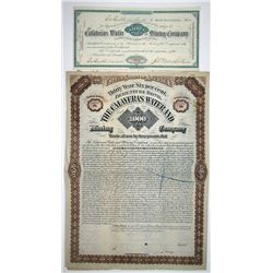 Calaveras Water and Mining Co. 1881 & 1882 I/U Stock Certificate & Specimen Bond Pair