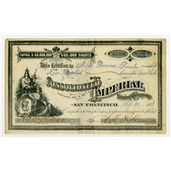 Consolidated Imperial Mining Co. 1881 I/U Stock Certificate