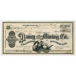 Daney Gold & Silver Mining Co. 1876 I/U Stock Certificate
