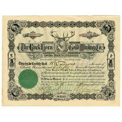 Buck Horn Gold Mining Co. 1896 I/U Stock Certificate, Cripple Creek District