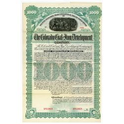 Colorado Coal and Iron Development Co., 1892 Specimen Bond