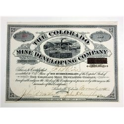 Colorado Mine Developing Co., I/U Stock Certificate.