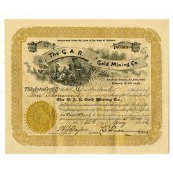 G.A.R. Gold Mining, 1896 I/U Stock Certificate