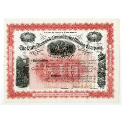 Little Diamond Consolidated Mining Co. 1882 I/U Stock Certificate.