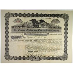 Panama Mining and Mineral Land Co. 1910 Stock Certificate.