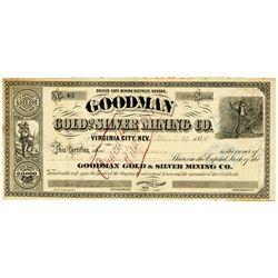 Goodman Gold and Silver Mining Co., 1874 I/C Stock Certificate.