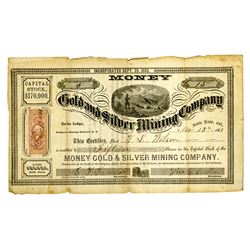 Money Gold and Silver Mining Co., Nov.13, 1863 I/U Stock Certificate.