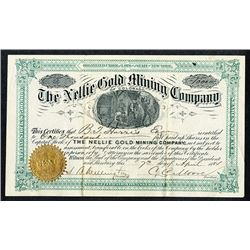 Nellie Gold Mining Co. of Colorado. 1884 I/U Stock Certificate.