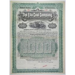 Ella Coal Co. of McKeesport, Pennsylvania 1897 Specimen Bond