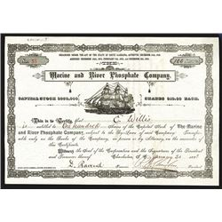 Marine and River Phosphate Co., 1883 Stock Certificate.
