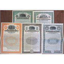 Coal Company 1910-1935 Specimen Bond Quintet.