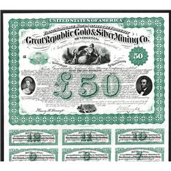 Great Republic Gold & Silver Mining Co. of Virginia, 1867 Issued Bond.