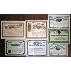 Group of 7 Western Mining Stock Certificates