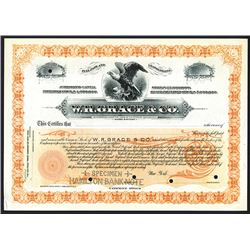 W.R. Grace & Co., 1890-1900 Specimen Stock Certificate.