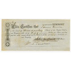 Franklin Canal Company (Authorized to Construct the lake Erie Rail road), ca.1840-1850 I/U Stock Cer
