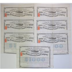 Large Group of Pennsylvania Canal Co. Bonds