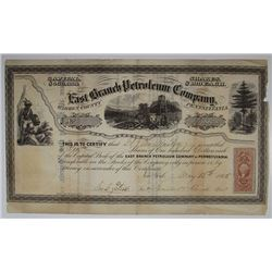 East Branch Petroleum Co., 1865 I/U Stock Certificate.