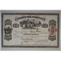 Linden Oil Co., 1865 I/U Stock Certificate.