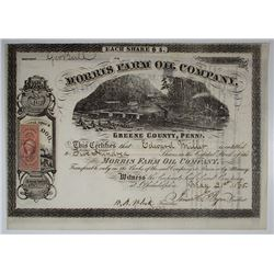 Morris Farm Oil Co., 1865 I/U Stock Certificate.
