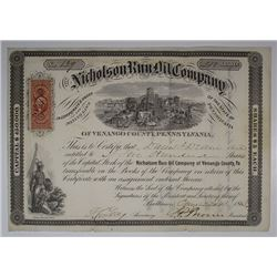 Nicholson Run Oil Co., 1865 I/U Stock Certificate.