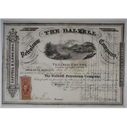 The Dalzell Petroleum Co., 1866 I/U Stock Certificate.