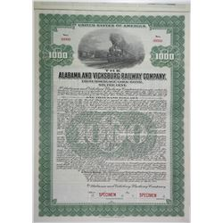 Alabama and Vicksburg Railway Co., 1924 Specimen Bond