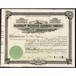 Bradshaw Mountain Railroad Co. 1902 I/C Stock Certificate.