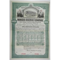 Manaos Railway Co., 1898 Specimen Bond Rarity