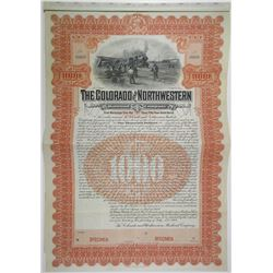 Colorado and Northwestern Railroad Co., 1904 Specimen Bond Rarity.