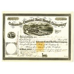 Colorado Central Rail Road co., 1873 Partially Issued Stock Certificate with Imprinted Revenue Stamp